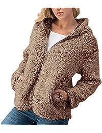 ZIYOU Female Outwear Zipper Coat, Damen Elegant Mantel Sweatshirt mit Kapuze Winter Beiläufige Warm Jacke Overcoat Reißverschluss Einfarbige