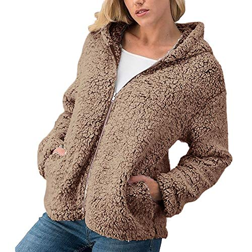 Togelei Frauen Normallack Reißverschluss Kapuzenpelzmantel Frauen Winter Casual Warm Zipper Jacke Solid Outwear Mantel Mantel Outercoat Mit...