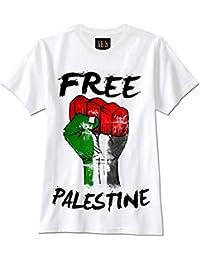 schwarz//weiss mit Flagge Druck Damen T-Shirt palästina GAZA S bis XL