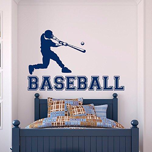 Baseball Wandtattoo Sport Vinyl Aufkleber Baseball-Spieler Gym Wandtattoo Jugendliche Kinder Jungen Zimmer College Wandkunst Home Wandbild 57X90CM -