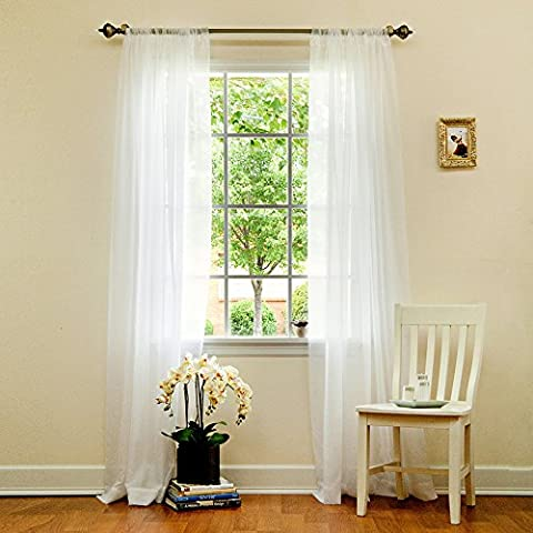Best Home Fashion Sheer Voile Curtains -Back Tab/ Rod Pocket - White - 58