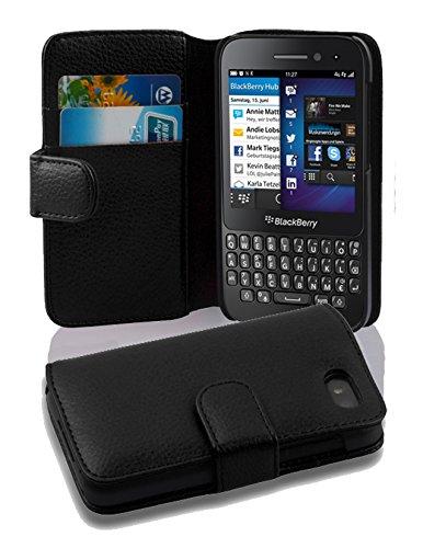 Cadorabo Hülle für Blackberry Q5 - Hülle in OXID SCHWARZ – Handyhülle mit Kartenfach aus struktriertem Kunstleder - Case Cover Schutzhülle Etui Tasche Book Klapp Style