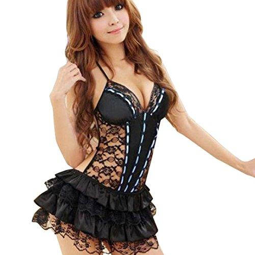Coolster Damen Sexy Halter Babydoll BH Flauschige Rock Spitze Mini Kleid Backless Lingerie & G-String (EU=40, Blau) (Teufel Kostüme Für Jugendliche)