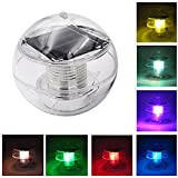 Floating Pool Light, Coquimbo Ball, Clear, Waterproof ABS Plastic Coloured Light LED Programmable Solar Hanging Light for Pond Pool Garten, etc. (1 PACK)