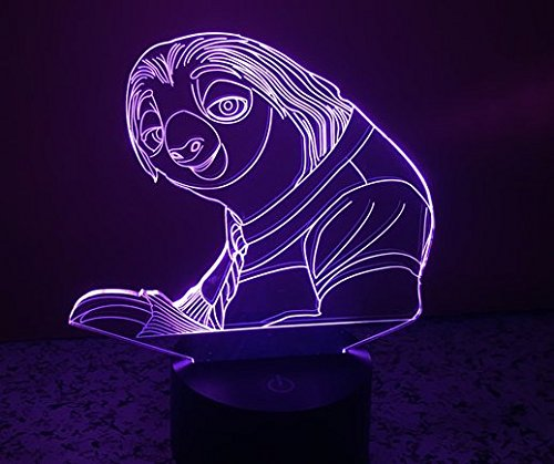 Geburtstag Geschenk Faultier 3D Light, 2Funktionen 7Farbe RGB Colorful USB Ladekabel Faultier Nachtlicht Lampe, Acryl Kristall Panel Funny Faultier Flash 3D Deko Lampe -