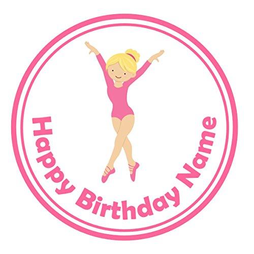 24Personalisierte Namen Kuchen Topper 4cm auf Zuckerguss-Pink Blondes Haar Gymnastik Tänzerin (Blonde Kuchen-topper)