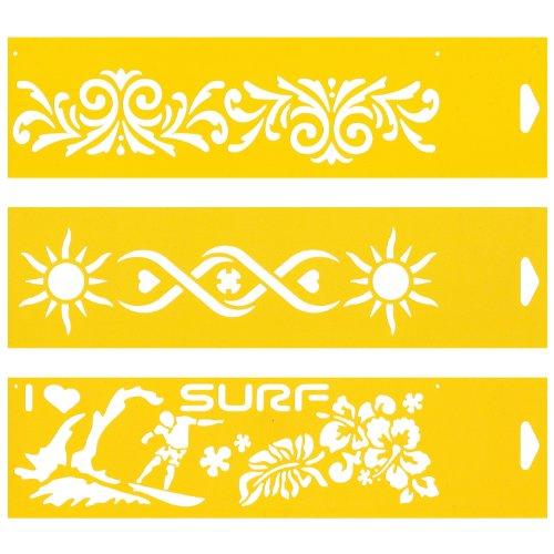 (Satz von 3) 30cm x 8cm Flexibel Kunststoff Universal Schablone - Textil Kuchen Wand Airbrush Möbel Dekor Dekorative Muster Torte Design Technisches Zeichnen Zeichenschablone Wandschablone Kuchenschablone - Viktorianische Sonne Sommer Surf-Muster (Surf-grafik)