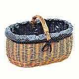 10-101-16 GalaDis Kleiner Einkaufskorb aus Weide geflochten mit Innenfutter (blau), Weidenkorb Geschenkkorb Präsentkorbb (45 x 32 x 25)