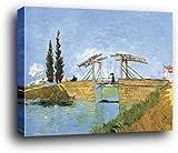 Vincent Van Gogh Poster Kunstdruck als Blockbild - Die Brücke Von Langlois Bei Arles Und Dame Mit Regenschirm, 1888 (80 x 60cm)