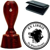 Esclusivo ex libris Set Timbri « Australian Shepherd testa 01» rotondo mogano colori con timbro cuscino exlibris exlibris–Cane animale domestico cappelli cane
