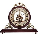 Festes Holz Metall Uhr Uhr Sitz Wohnzimmer Studie Restaurant Hotel Pendel Klassische Retro Uhr Braun 30 * 29,5 * 16 cm