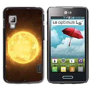 Be Good Phone Accessory // Hartschalen Handyhülle Schutzhülle Schutz Etui Hülle für LG Optimus L5 II Dual E455 E460 // Sun Star Yellow Space Universe Burning Planet