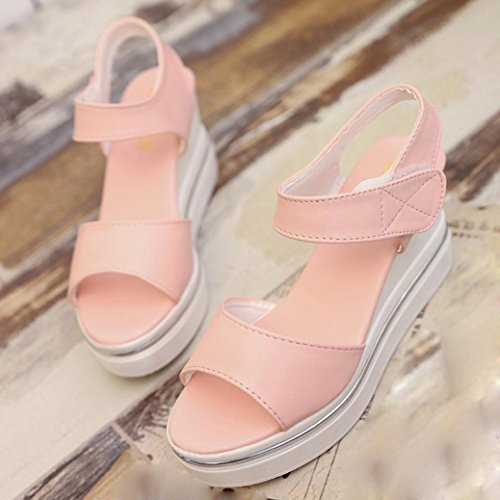 Plattform Kaiki Frauen Wedges Sandalen Damen High Open Schuhe Cut Sandalen Heels Pink Toe Outs rxYIq61Y