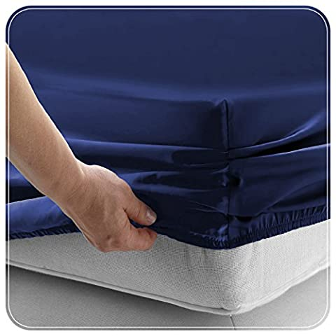 New Luxury Microfiber Plain Dyed Fitted Sheet Easy Care Thread-200 Fitted Bed sheet Fit over Mattress Single Double King (DOUBLE,