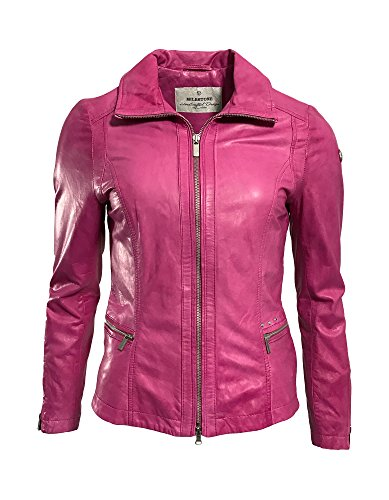 Milestone Damen Lederjacke Lissy Rot, Pink Echtleder Umlegekragen Gr. 38 - Gr. 46 (40, Pink)