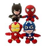 SDFGXCV Spiderman/Batman/Iron Man/Captain America/Peluche Poupée Peluche Film Comique Héros Super Hero Squad Peluche Douce,Spiderman-25cm