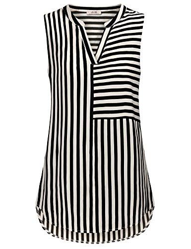 VIVILLI Bluse Ärmellos Damen, Damen Freizeit Oberteile Shirt Slim Fit Asymmetrisch Gestreift Chiffon Retro Schick Fließende Tunika Schwarz Weiß XL
