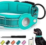 طوق كلاب عاكس للضوء، طوق فييار مبطن بعلامة هوائية على شكل علامة أبل إير، طوق كلاب شديد التحمل مع حقيبة حامل هو