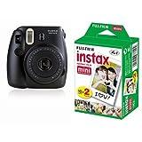 Fujifilm Instax Mini 8 Black + 20 Shots Fotocamera Istantanea per Stampe, Formato 62x46 mm, Nero