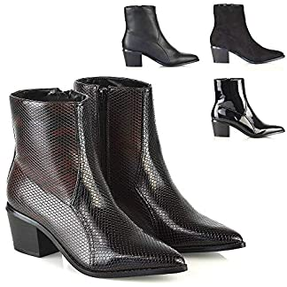 ESSEX GLAM Womens Ankle Boots Pointed Toe Western Ladies Block Heel Booties Size 3-8 5