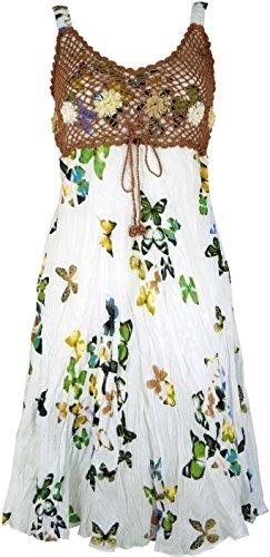 Guru-Shop Boho Minikleid, Sommerkleid Schmetterling, Krinkelkleid, Damen, Weiß/braun, Synthetisch, Size:38, Kurze Kleider Alternative Bekleidung