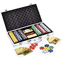 Kids Mandi Premium Poker Chip Set with Golden Colour Playing Cards | Comes with Aluminium Carrying Case, Dice, Dealer…