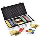Premium Poker Chip Set With Golden Color Playing Cards | Comes With Aluminum Carrying Case, Dice, Dealer Button Included (300)