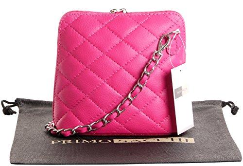 Italienische schwarze Leder klein/Micro gesteppte Umhängetasche Handtasche mit Metallkette und Leder, Riemen umfasst eine Marke schützenden Aufbewahrungstasche Rosa Gesteppt