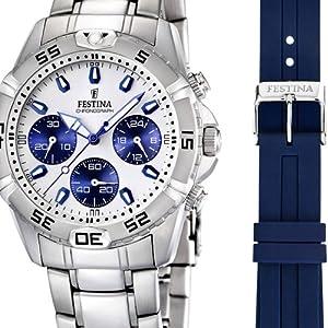 Festina F16635/1 - Reloj cronógrafo de cuarzo para hombre con correa de acero inoxidable, color plateado de Festina