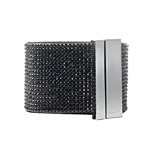 Bracelet wrap slake cristal pour Femme genre slake façon Swarovski 6 rangs strass noir fermeture magnetique