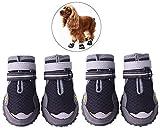 Morezi traspirante Dog stivali scarpe Pet zampa protezioni Diresistenza cane con spalline regolabili e riflettente