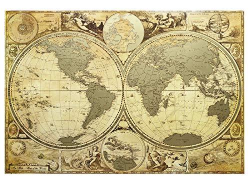 Welt zum Auskratzen, Reise-Karte, Karte zum Auskratzen, Hemisphäre, antik, Antike, alte Karte, Poster 16 x 24, Premium-Business-Karte, detaillierte Wandkarte, Push-Pin, USA-Karte und Karibik, in Röhre