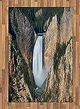 ABAKUHAUS Wyoming Moquette Tessuta Piatta, Gran Canyon di Yellowstone, per Soggiorno Camera da Letto Sala da Pranzo, 120 x 180 cm, Scuro Marrone Sabbia Cacciatore Verde E Bianco