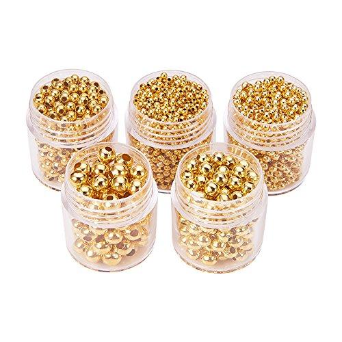 Perline di Distanziatore in Ferro Rotondo per Bigiotteria,Oro,2~5mm, Foro: 1~2mm