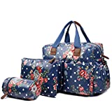 Miss Lulu 4 Piece Flower Polka Dot Baby Nappy Changing Bag Set (Navy) by Miss Lulu