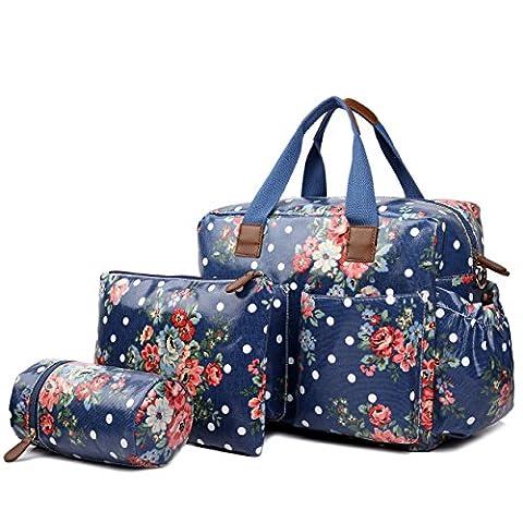 Miss Lulu 4 Piece Flower Dot Baby Nappy Changing Bag Set Navy Blue L1501F NY