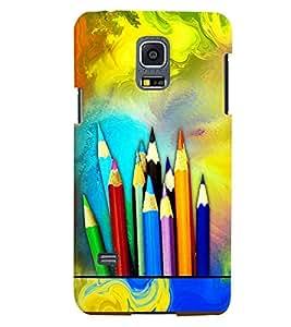 PrintVisa Modern Art Pencil Color 3D Hard Polycarbonate Designer Back Case Cover for Samsung Galaxy S5 Mini