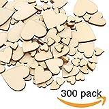 300 Stücke Herz Holz Scheiben (10mm+20mm+30mm+40mm) , blank Naturholzscheiben für DIY Basteln Kunsthandwerk, Weihnachten , Hochzeit, Geburtztag, Feiertag Dekoration (Holzfarbe Herz)