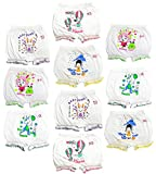 Girls and Boys White cotton printed Bloomer drawer Multi pack(pack of 10) (BLOOMER_WPP_10PC_45)