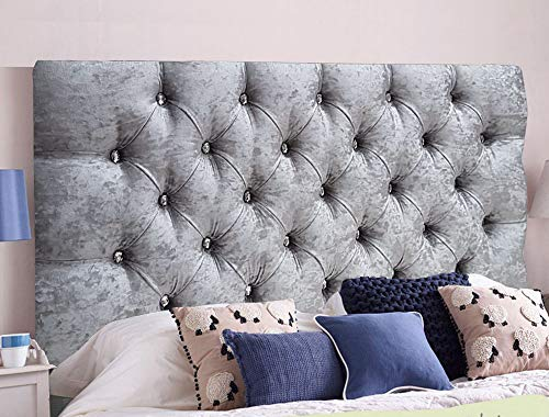 Headboard Crushed Velvet Ornamental Crystal Diamond Sturdy Frame Parts Supplied (Double 4 FEET 6 INCHES, Silver)
