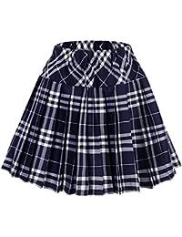 Urban GoCo Falda Escocesa Plisada con Cintura Elástica para Mujeres