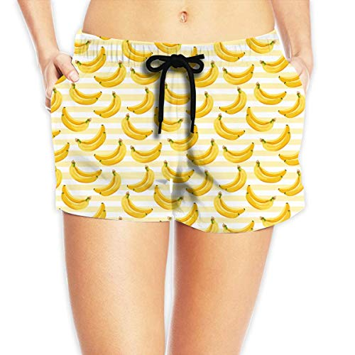 Hwgss Banana Pattern Womens Lightweight Board/Beach Shorts Drawstring Pockets Swimming Shorts(S) - Oakley Lightweight Shorts