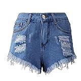 Damen Hosen Sommer LHWY Frauen Kurz Mini Jeanshosen Quaste Loch Shorts Jeans Denim Kurze Hosen Zipper Taste Hotpants Mode Streetwear Clubwear (S, Blau)