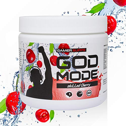 GAMER SUPPS God Mode Gaming Booster, der eSports Engery Drink für Gamer, Multivitamin Amino Getränk, wenig Kalorien und wenig Zucker, 280g = 40 Portionen, Geschmack:skiLLed Cherry (Kirsche)