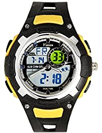 Vizion Black Dial Analog-Digital Dual Time YELLOW Shade Watch For Men-8009017AD-5