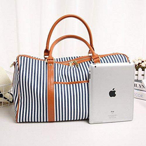 BAOSHA HB-25 Canvas Holdalls Frauen Damen Segeltuch Reisetaschen Handgepäck Weekender Tasche Travel Duffels mit Gestreift und PU Leder Dekoration (Blau Streifen) Blau Streifen