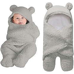 Reasoncool Cute Newborn Baby Soft Cotton Receiving Sleeping Blanket Boy Girl Warm Wrap Swaddle Sleeping Bag Sleep Sack Stroller Wrap Bath Towel Photography Prop for 0~12 Months (Gray)