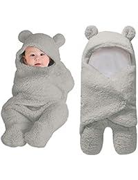 Newborn Baby Sleeping Bag Boys Girls Cute Cotton Plush Receiving Blanket Wrap Swaddle Warm Receiving Blanket Sleep Sack Stroller Wrap for Baby Photography Props Bath Towel (0-12 Months, Gray)