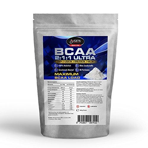 BCAA 2:1:1 400g Pulver, Einführungspreis, 100% rein ohne Zusätze, L-Leucin + L-Isoleucin + L-Valin im Verhältnis 2:1:1, Geschmacksneutral