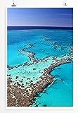 Eau Zone Home Bild - Landschaft Natur – Das leuchtend blaue Great Barrier Reef Australien- Poster Fotodruck in höchster Qualität